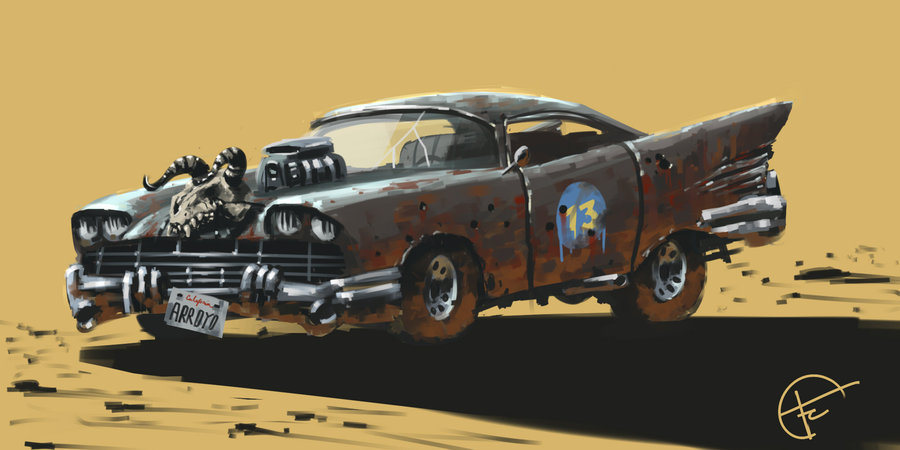 Artwork of the Highwayman car from Fallout 2